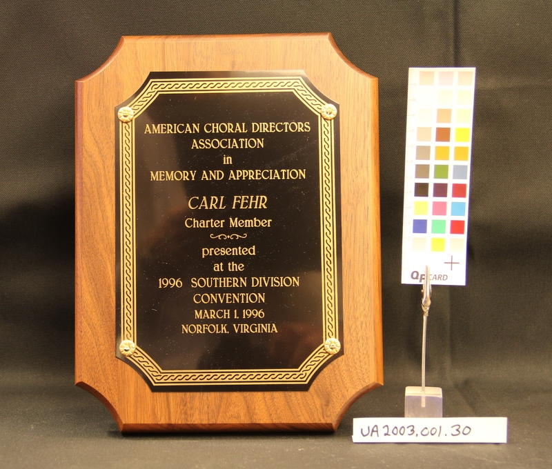Plaque from American Choral Directors Association