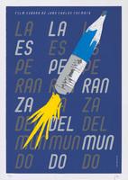 Film poster for <em>La esperanza del mundo</em>, a film by Juan Carlos Cremata, designed by Pepe Menéndez.