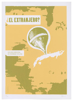 Film poster for <em>¿El Extranjero?</em>, a documentary by Enrique Colina, designed by Idania del Río.